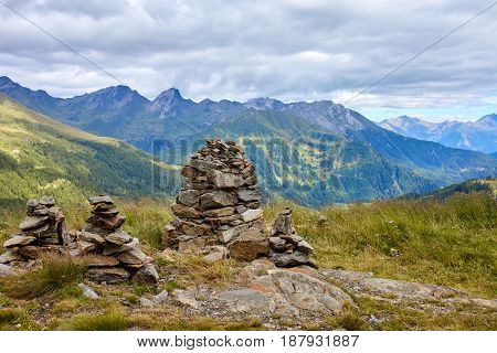 View from mountain in Austrian Alps at Grossglockner high alpine road