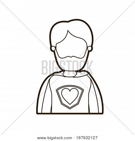 black thick contour caricature faceless half body super hero father with beard vector illustration
