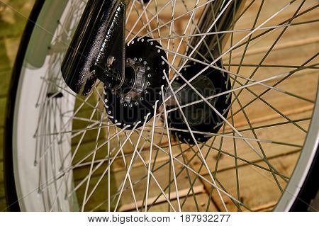 front wheel of the motorcycle from a close distance