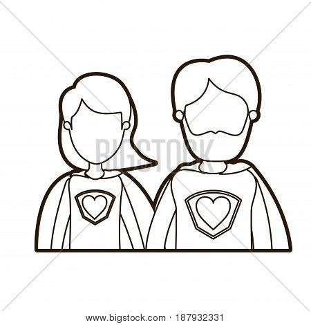 black thick contour caricature faceless half body couple parents super hero with heart symbol in uniform vector illustration