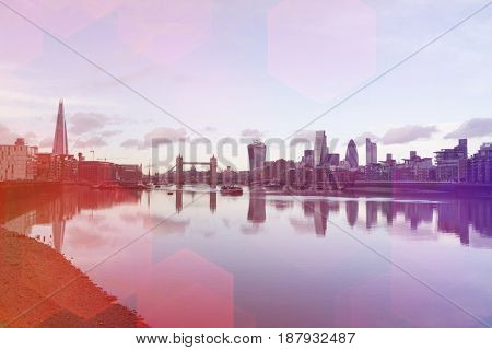 City skyline and River Thames; London; UK