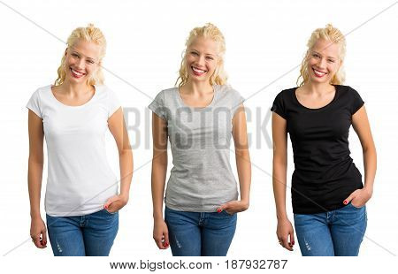 Woman in white, gray, and black T-shirts