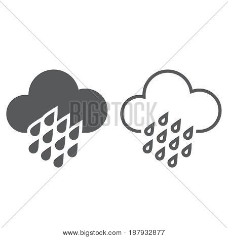 Heavy Rain Weather Icon. Solid And Outline