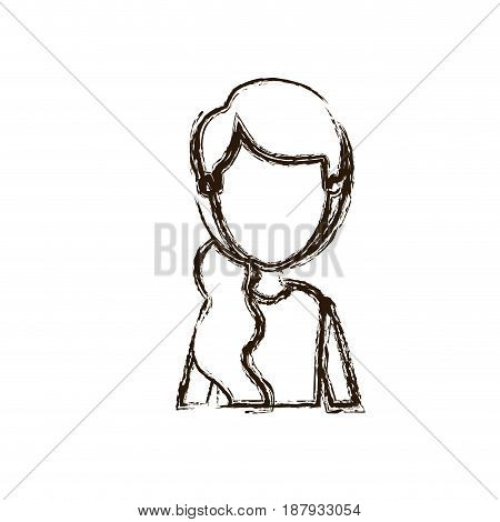 blurred silhouette caricature faceless half body woman with side ponytail hairstyle vector illustration
