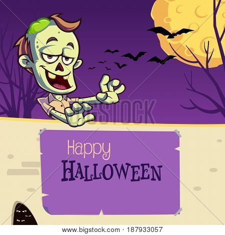 Funny zombie to celebrate halloween party, vector illustration