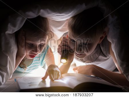 Sister And Brother Are Reading A Book Under A Blanket With Flashlight. Pretty Young Boy And Lovely G