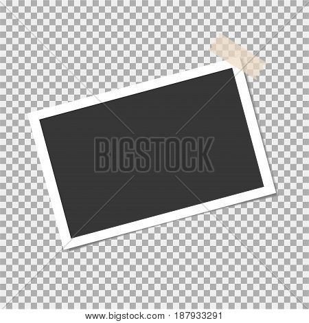 Photo Frame With Sticky Tape On Isolate Background. Template For Your Photo Or Image