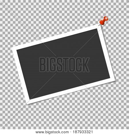 Photo Frame With Pin On Transparent Background. Vector Template, Blank For Trendy And Stylish Photo