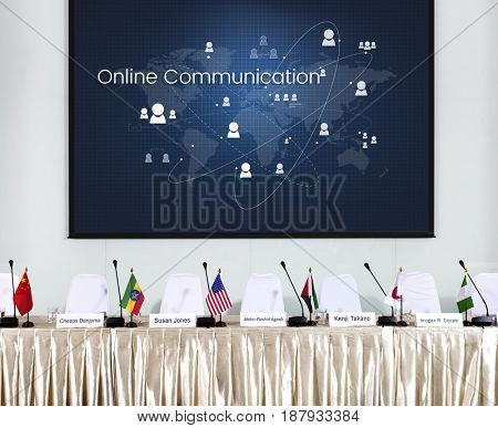 Illustration of global communication network technology at press conference