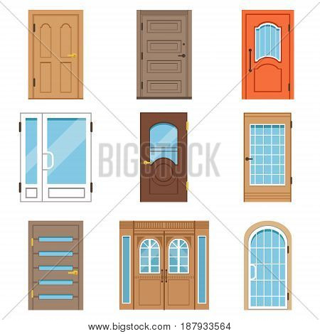 Front doors, collection of vIntage and modern doors to houses and buildings vector illustrations isolated on a white background
