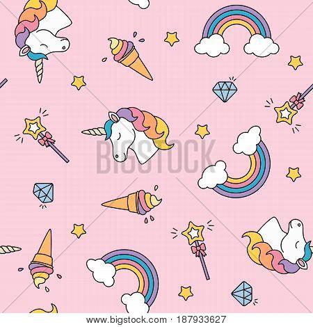 Unicorn, rainbow, ice cream and magic wand pastel colors seamless pattern