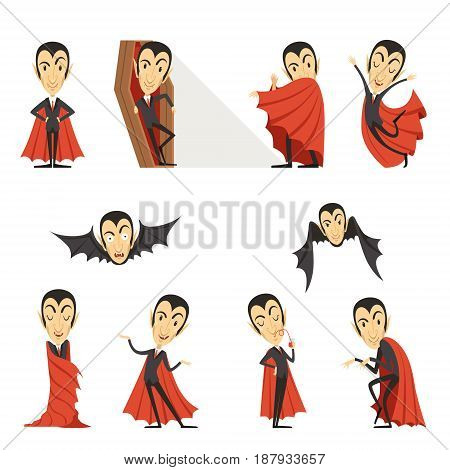Count Dracula wearing red cape. Set of cute cartoon vampire characters vector illustrations isolated on a white background
