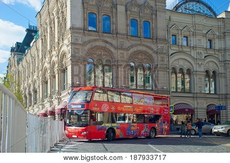 Moscow Russia - May 13 2017: City Sightseeing bus near GUM on Red Square in Moscow