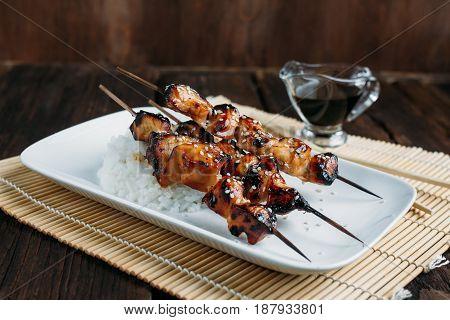 Chicken Teriyaki Skewers With Rice