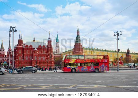 Moscow Russia - May 13 2017: City Sightseeing bus with Kremlin view