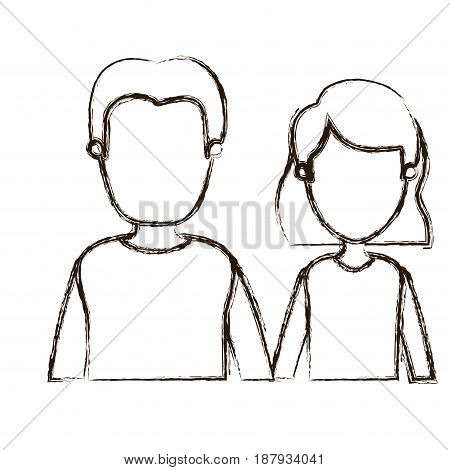 blurred thick silhouette caricature faceless half body couple woman with short hair and young man vector illustration
