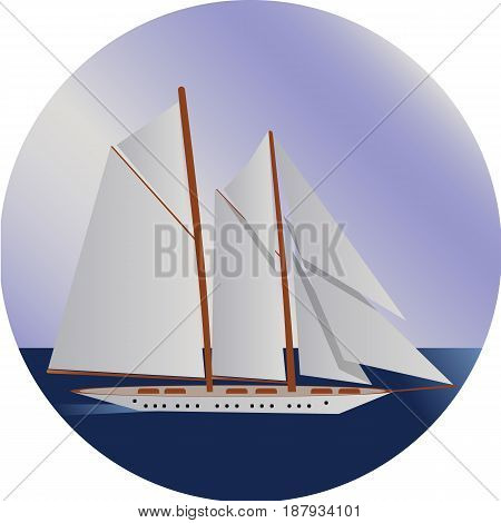 Ship at sea, shipping boat, water transport vector illustration