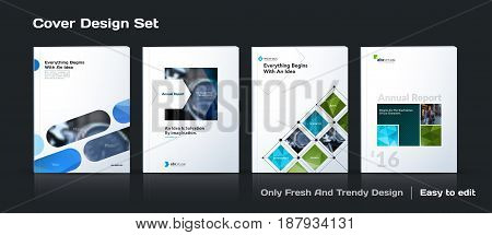 Abstract vector business template set. Brochure layout, cover modern design annual report, poster, A4 flyer with blue squares, triangles, diagonal geometric shapes lines with texture background.