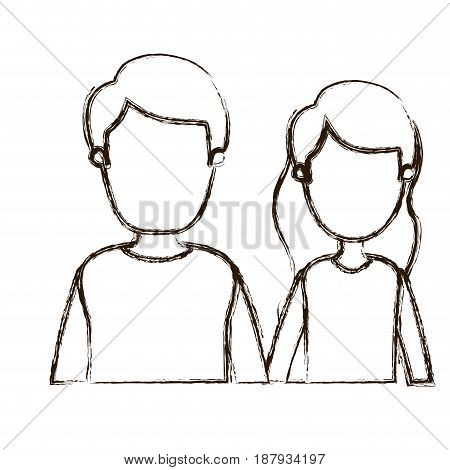 blurred thick silhouette caricature faceless half body couple woman with long wavy hair and man vector illustration