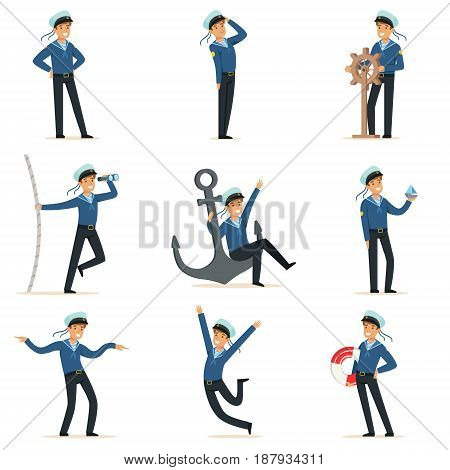 Sailor character doing his job set. Seaman in different situations cartoon vector Illustrations isolated on white background