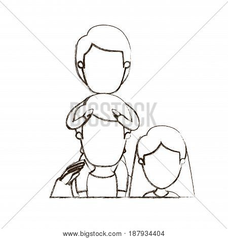 blurred thin contour caricature faceless half body family mother and father with boy on his back vector illustration