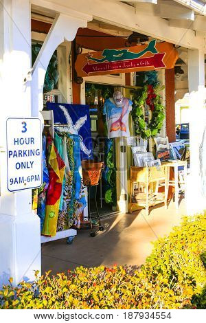 Bradenton Beach FL USA - 12,11,2015: Bridge Street tourist gift shop at Bradenton Beach on Anna Maria Island FL