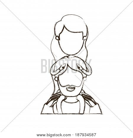 blurred thin contour caricature faceless half body bearded father with girl on his back vector illustration