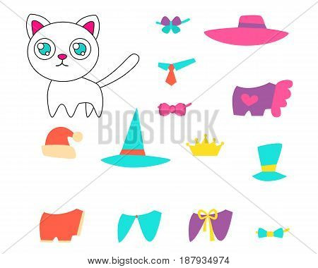 A set of clothes and accessories for a white cat. Vector illustration