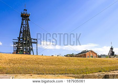 Butte Montana USA - July 21 2015: The original 1878-1976 3569ft deep copper mine site in Butte Montana
