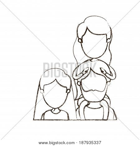 blurred thin contour caricature faceless front view half body family parents with girl on his back vector illustration