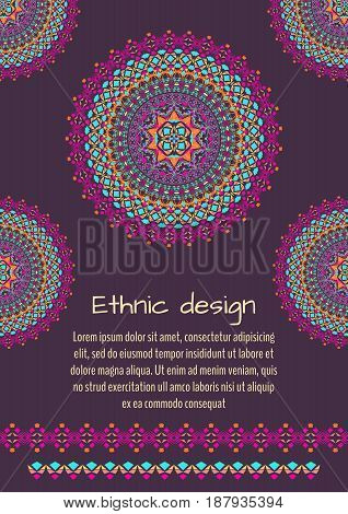 Vector flyer template for business and invitation with mandala patterns. Striped geometric ornaments. Native american indian motifs. Boho style. A4 format with place for text