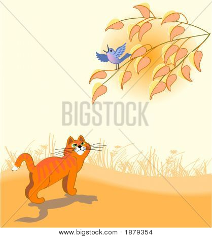 The orange cat looks at a dark blue bird on a tree poster