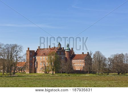 Gammel Estrup, most famous castle of Jutland region, Denmark