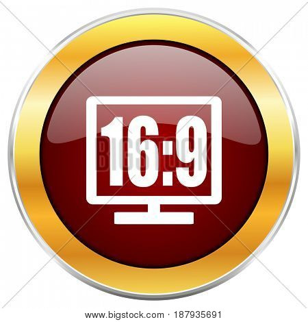 16 9 display red web icon with golden border isolated on white background. Round glossy button.