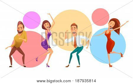 Vector illustration of expressive group of office people having party and dancing together.
