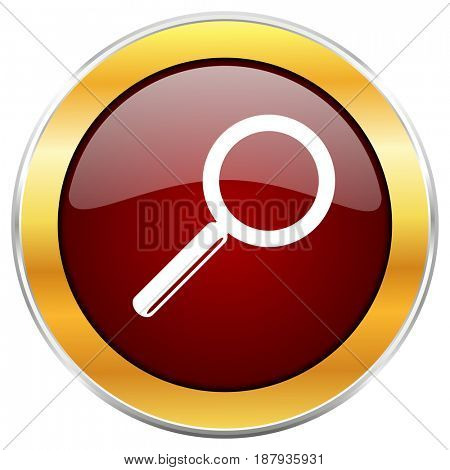 Search red web icon with golden border isolated on white background. Round glossy button.