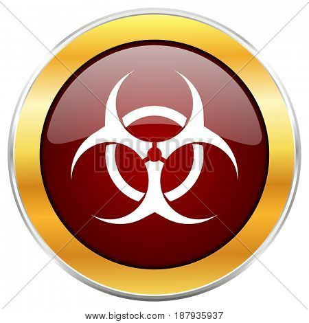 Biohazard red web icon with golden border isolated on white background. Round glossy button.