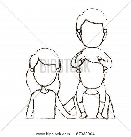 blurred thin contour caricature faceless front view half body young family parents with boy on his back vector illustration