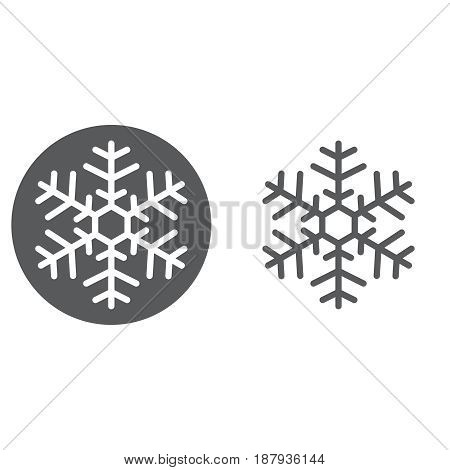 snowflake icon. solid and outline isolated on white