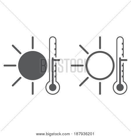 warm weather icon. solid and outline isolated on white