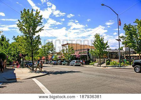 Coeur d'Arlene, ID, USA - 07/19/2015: Stores on Sherman Ave in Coeur d'Alene in Idaho