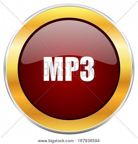 Mp3 red web icon with golden border isolated on white background. Round glossy button.