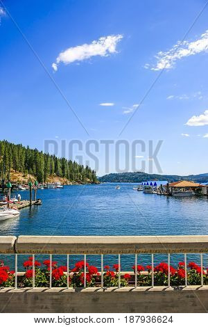 Coeur d'Arlene, ID, USA - 07/19/2015: Lake Coeur d'Alene seen from the city named after it in North Idaho