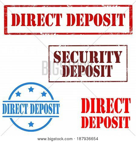Set of stamps with text Security Deposit and Direct Deposit,vector illustration