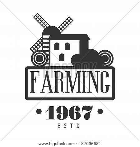Farming estd 1967 logo. Black and white retro vector Illustration for organic products packaging, farms, shops, cafe, menu