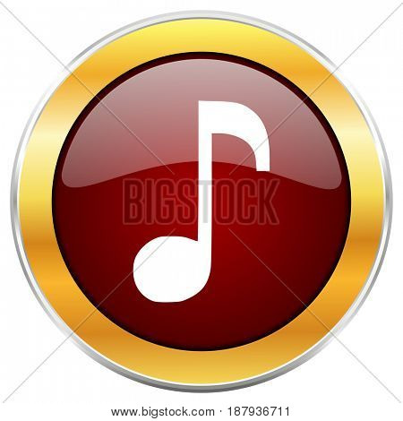 Music red web icon with golden border isolated on white background. Round glossy button.