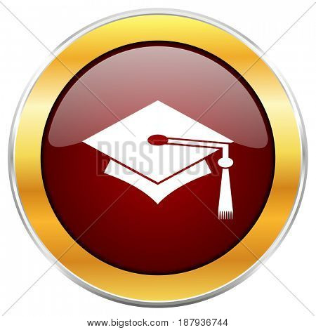 Education red web icon with golden border isolated on white background. Round glossy button.