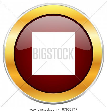 Stop red web icon with golden border isolated on white background. Round glossy button.