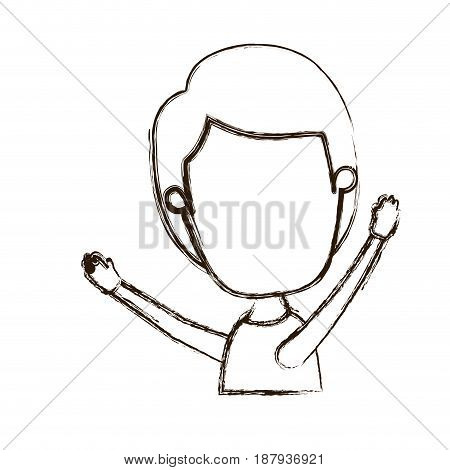 blurred thick silhouette caricature faceless side view half body boy with hands up vector illustration