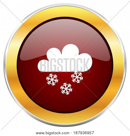 Snowing red web icon with golden border isolated on white background. Round glossy button.